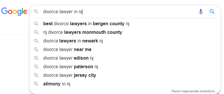 Relevant keywords in Gooogle suggest for Local SEO